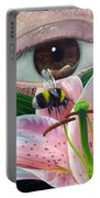 White Tailed Bumble Bee Upon Lily Flower Portable Battery Charger