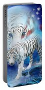 White Tiger Moon - Patriotic Portable Battery Charger by Carol Cavalaris