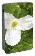 White Trillium Flower Portable Battery Charger