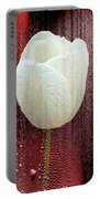 White Tulip On Red Portable Battery Charger