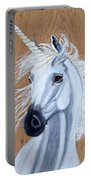 White Unicorn On Wood Portable Battery Charger
