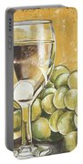 White Wine And Cheese Portable Battery Charger by Debbie DeWitt