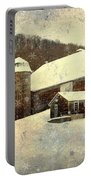 White Winter Barn Portable Battery Charger