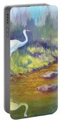 Whooping Crane - Searching For Frogs Portable Battery Charger