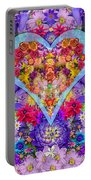 Wild Flower Heart Portable Battery Charger by Alixandra Mullins