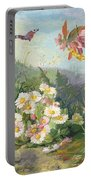 Wild Flowers And Butterfly Portable Battery Charger by Jean Marie Reignier