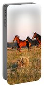 Wild Horses At Sunset Portable Battery Charger