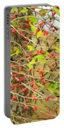 Wild Red Berrie Bush With Birds - Digital Paint Portable Battery Charger
