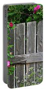 Wild Roses And Weathered Fence Portable Battery Charger