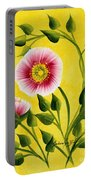 Wild Roses On Yellow Portable Battery Charger