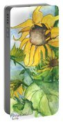 Wild Sunflowers Portable Battery Charger by Sherry Harradence