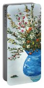 Wildflowers In A Blue Vase Portable Battery Charger
