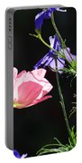 Wildflowers On Black Portable Battery Charger