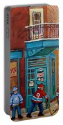 Wilensky Montreal-fairmount And Clark-montreal City Scene Painting Portable Battery Charger by Carole Spandau