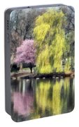 Willow And Cherry By Lake Portable Battery Charger