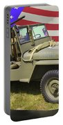 Willys World War Two Army Jeep And American Flag Portable Battery Charger