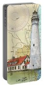Wind Pt Lighthouse Wi Nautical Chart Map Art Cathy Peek Portable Battery Charger