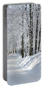 Winding Snowy Road In Winter Portable Battery Charger