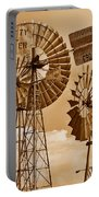 Windmills In Sepia Portable Battery Charger