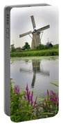 Windmills Of Kinderdijk With Flowers Portable Battery Charger