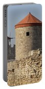 Windmills Of Rhodos - Port Of The Myloi Portable Battery Charger