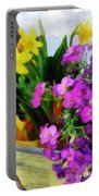 Window Box On A Windy Day Portable Battery Charger