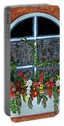 Window Flower Box On A Stucco Wall Portable Battery Charger