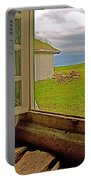 Window On Sod-covered Roof In Louisbourg Living History Museum-1744-ns Portable Battery Charger