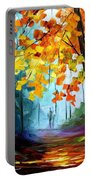 Window To The Fall - Palette Knife Oil Painting On Canvas By Leonid Afremov Portable Battery Charger