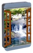 Window view garden waterfall with koi pond painting by for Portable koi pond
