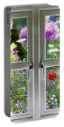 Window View Onto Wild Summer Garden Portable Battery Charger