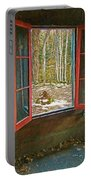 Window With View Abandoned Elkmont Log Cabin Autumn Portable Battery Charger