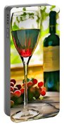 Wine And Grapes In The Window Portable Battery Charger
