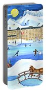 Winter At Lake Louise Chateau Portable Battery Charger