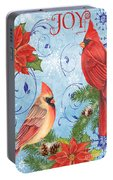 Winter Blue Cardinals-joy Card Portable Battery Charger
