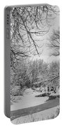 Winter Creek In Black And White Portable Battery Charger