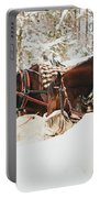 Horses Eating In Snow Portable Battery Charger