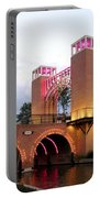 Winter Evening Lights On The Woodlands Waterway Portable Battery Charger