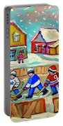 Winter Fun At Hockey Rink Magical Montreal Memories Rink Hockey Our National Pastime Falling Snow   Portable Battery Charger