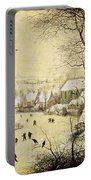 Winter Landscape With Skaters And A Bird Trap Portable Battery Charger