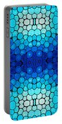 Winter Lights - Blue Mosaic Art By Sharon Cummings Portable Battery Charger