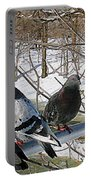 Winter Pigeon Party Portable Battery Charger