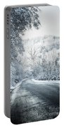 Winter Road In Forest Portable Battery Charger