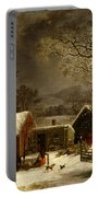 Winter Scene In New Haven Connecticut 1858 By Durrie Portable Battery Charger by Movie Poster Prints