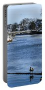 Winter Scene Jersey Shore Town Portable Battery Charger