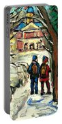 Winter Scene Painting Rows Of Snow Covered Cars First School Day After Christmas Break Montreal Art Portable Battery Charger