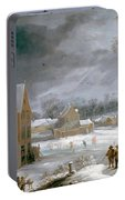 Winter Scene With A Man Killing A Pig Portable Battery Charger