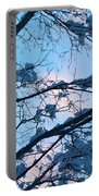 Winter Sky And Snowy Japanese Maple Portable Battery Charger