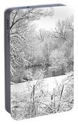 Winter Snow At Huron River Portable Battery Charger
