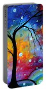Winter Sparkle Original Madart Painting Portable Battery Charger by Megan Duncanson